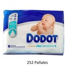 Pack Mensual 252 x Pañales Dodot Pro Sensitive + Talla 2 Peso 4-8 Kilos + Regalo