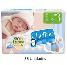 36 x Pañales Chelino Talla 3 de 4 a 10 Kilos Limpieza y Cuidad Pañal Bebes Pack