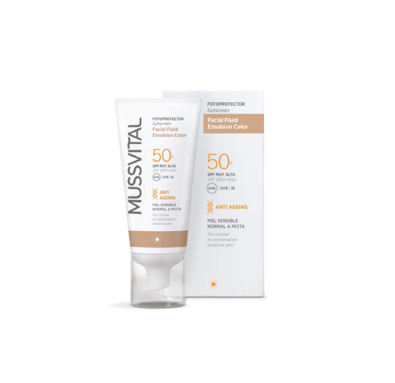 Protector Solar Piel Sensible Normal Mixta Mussvital 50ml SPF Muy Alta 50+ Sol
