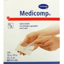 Gasas Suaves de tejido sin tejer Medicomp 10x10cm Mas Delicadas Piel Botiquín