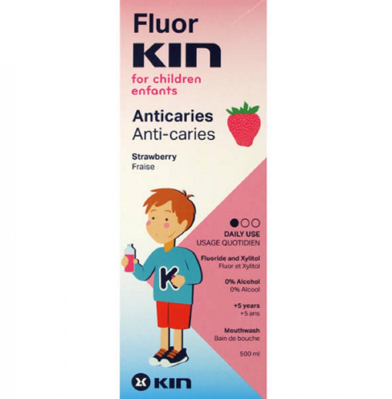 Fluor KIN Infantil Anticaries Fresa Morango Uso Diario Salud Cuidados Bienestar Dental