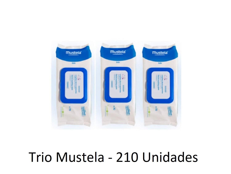 210 x Toallitas Mustela Húmedas Dermo Suavizantes Trió Limpieza e Higiene Bebes