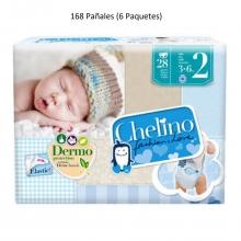 168 x Pañales Chelino Talla 2 Desde 3 - 6 Kilos Limpieza Caja Pack Bebes Niños