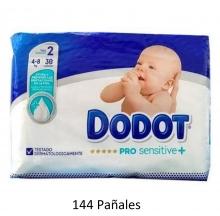 144 x Pañales Dodot Pro Sensitive + Talla 2 Peso 4-8 Kilos Protección Limpieza