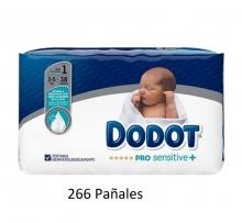 Pack Mensual 266 x Dodot Pro Sensitive + Talla 1 Peso 2-5 Kilos + Regalo Bebes