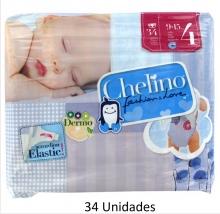 34 x Pañales Chelino Talla 4 de 9 a 15 Kilos Limpieza y Cuidad Pañal Bebes Pack