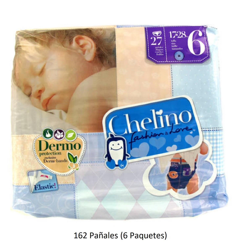 162 x Pañales Chelino Talla 6 de 17 - 28 Kilos Limpieza Pañal Bebes Pack Niños