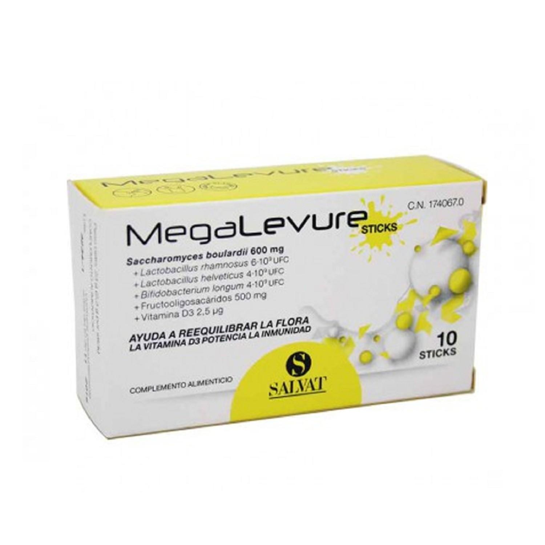 Megalevure 10 Sticks Complemento Alimenticio Reequilibra la Flora Vitaminas