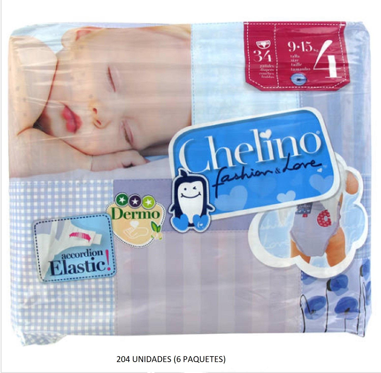 204 x Pañales Chelino Talla 4 Desde 9 - 15 Kilos Limpieza Cambio Bebes Niños