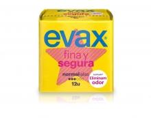 12 x Compresas con Alas Evax Fina Segura Normal Protección Higiene Salud Mujer