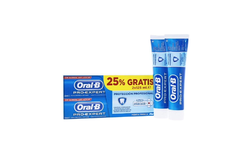 Pack Pasta Dental 2x125 ml Oral-B Pro Expert Proteccion Profesional Menta Fresca